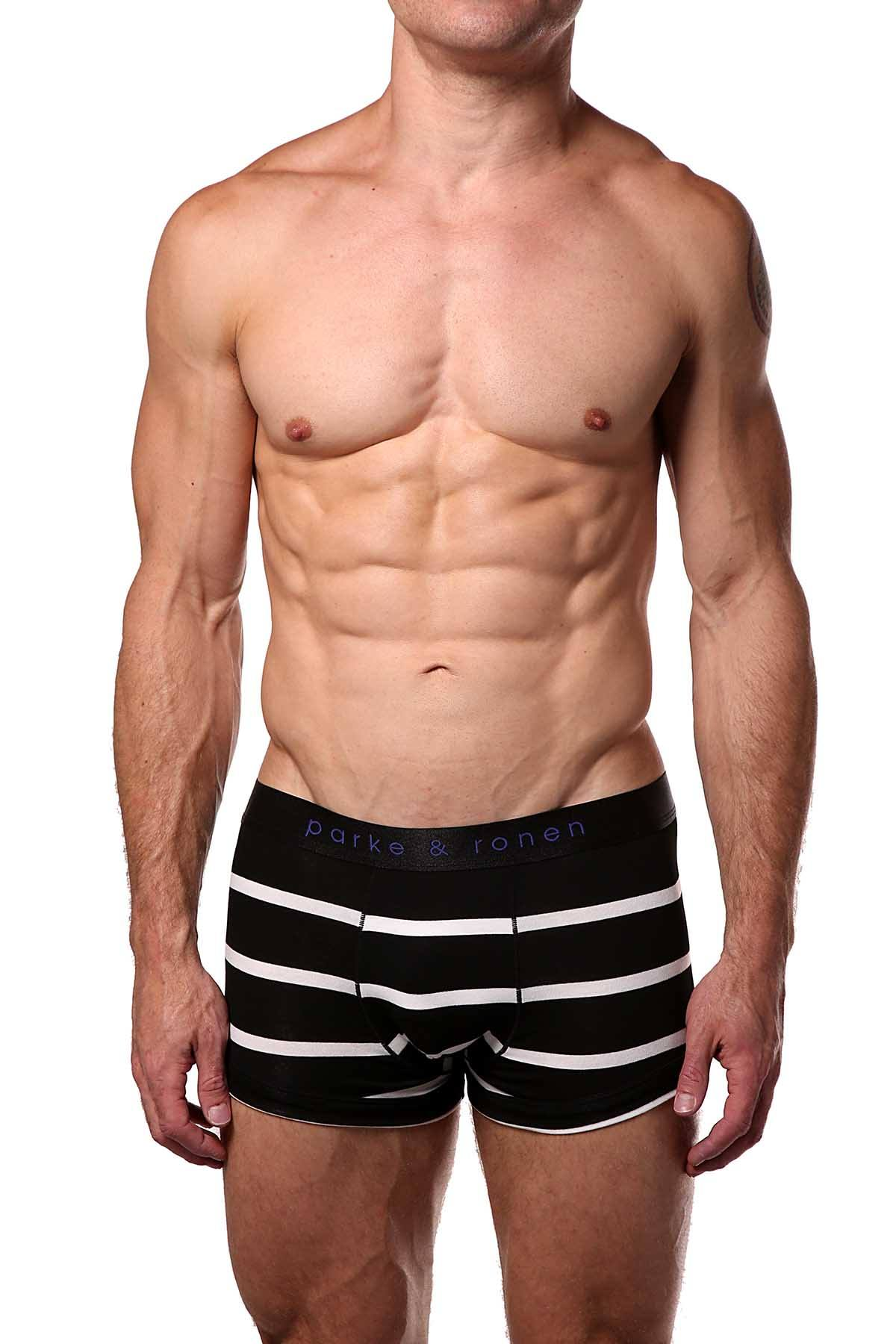 Parke & Ronen Black/White Striped Low-Rise Trunk