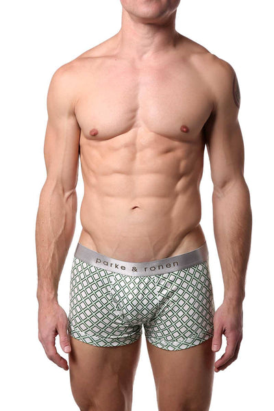 Parke & Ronen White/Army Diamond-Printed Low-Rise Trunk - CheapUndies.com