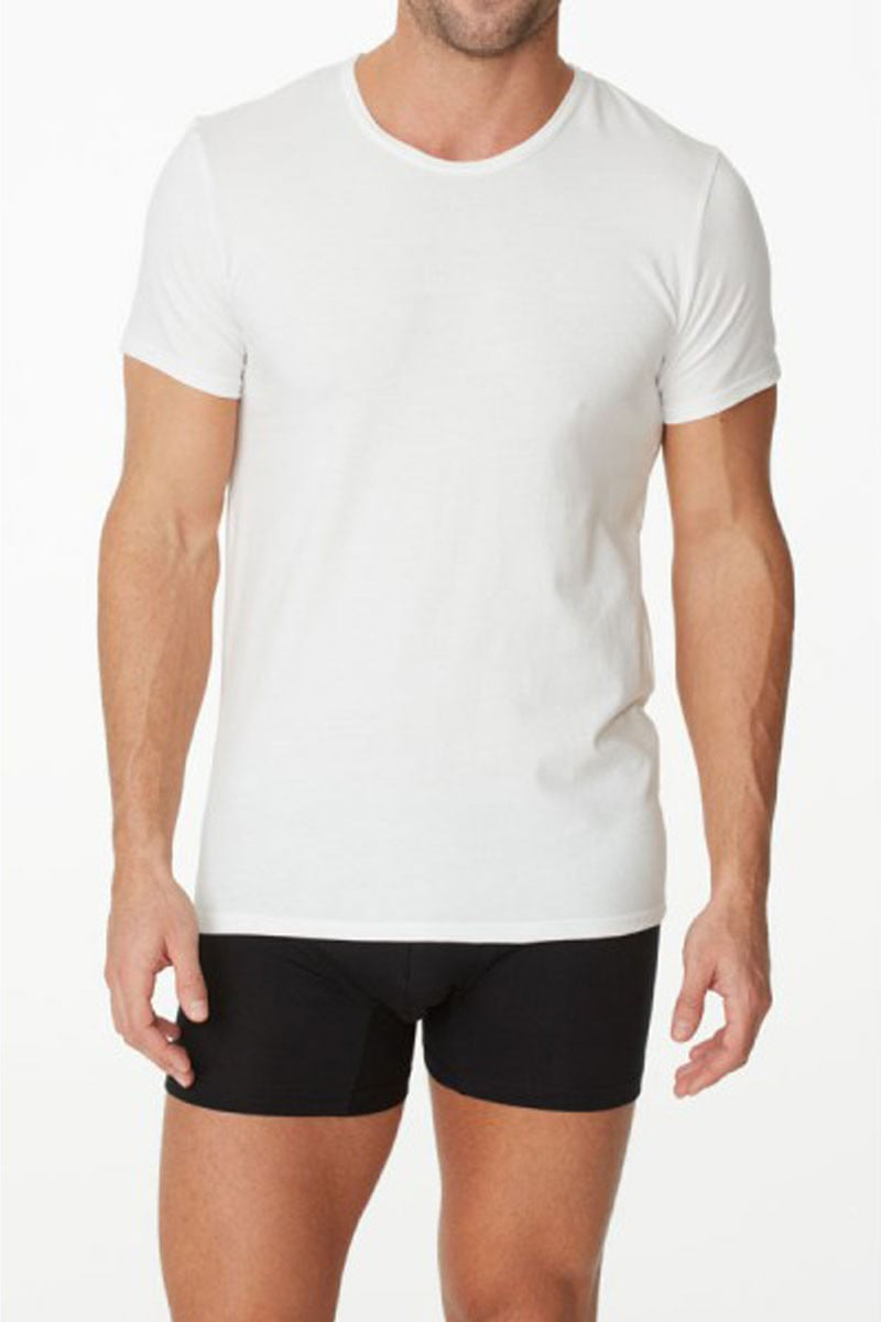 Parker & Max White Micro Luxe Crew-Neck T-Shirt