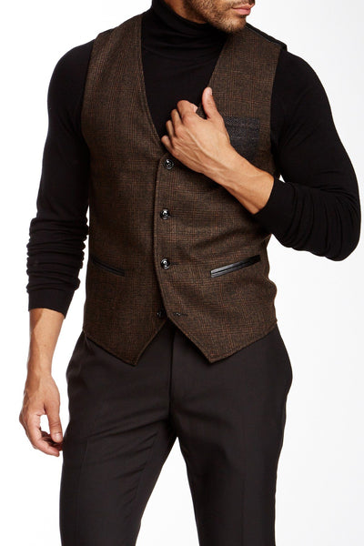 People Trend Coffee Vest w/ Faux-Leather Trim - CheapUndies.com