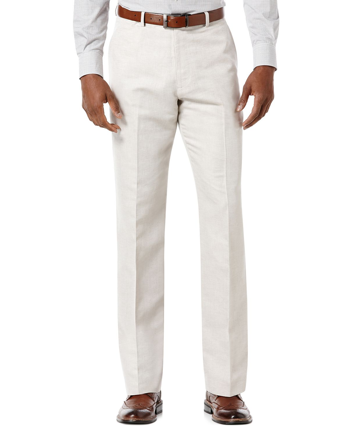 Perry Ellis Linen Blend Solid Twill Pants Natural Linen