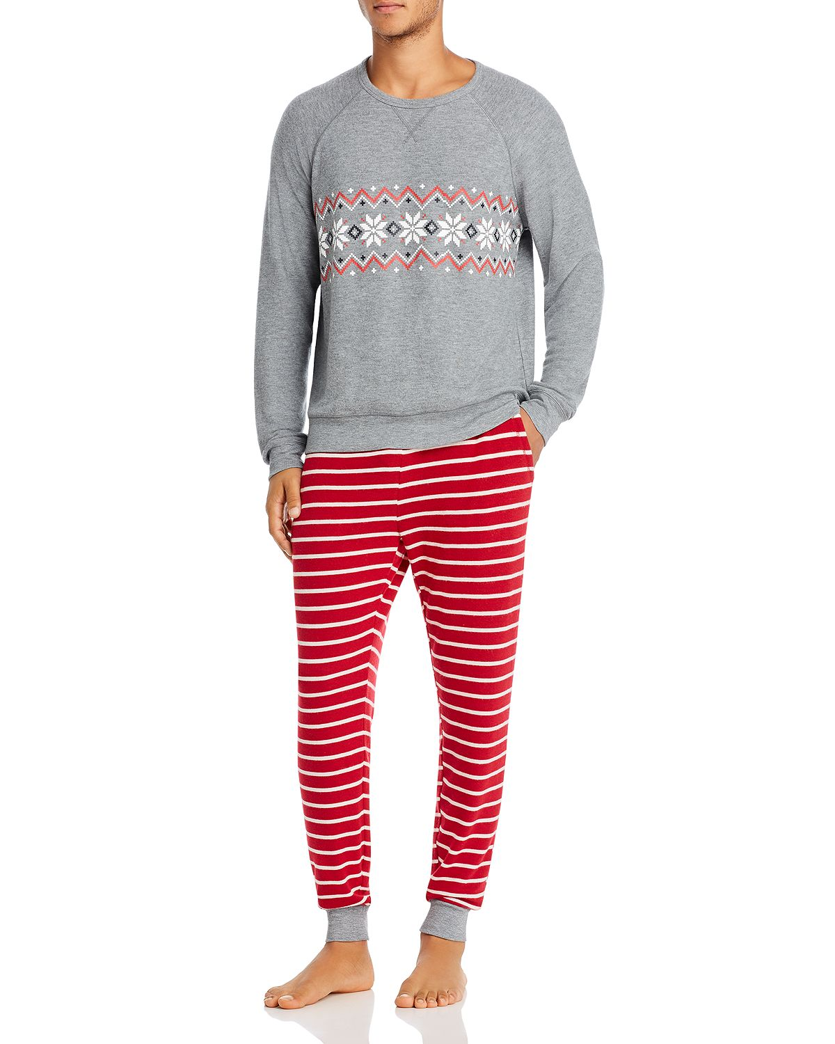 Pj Salvage Poinsettia-graphic & Striped Pj Set Red