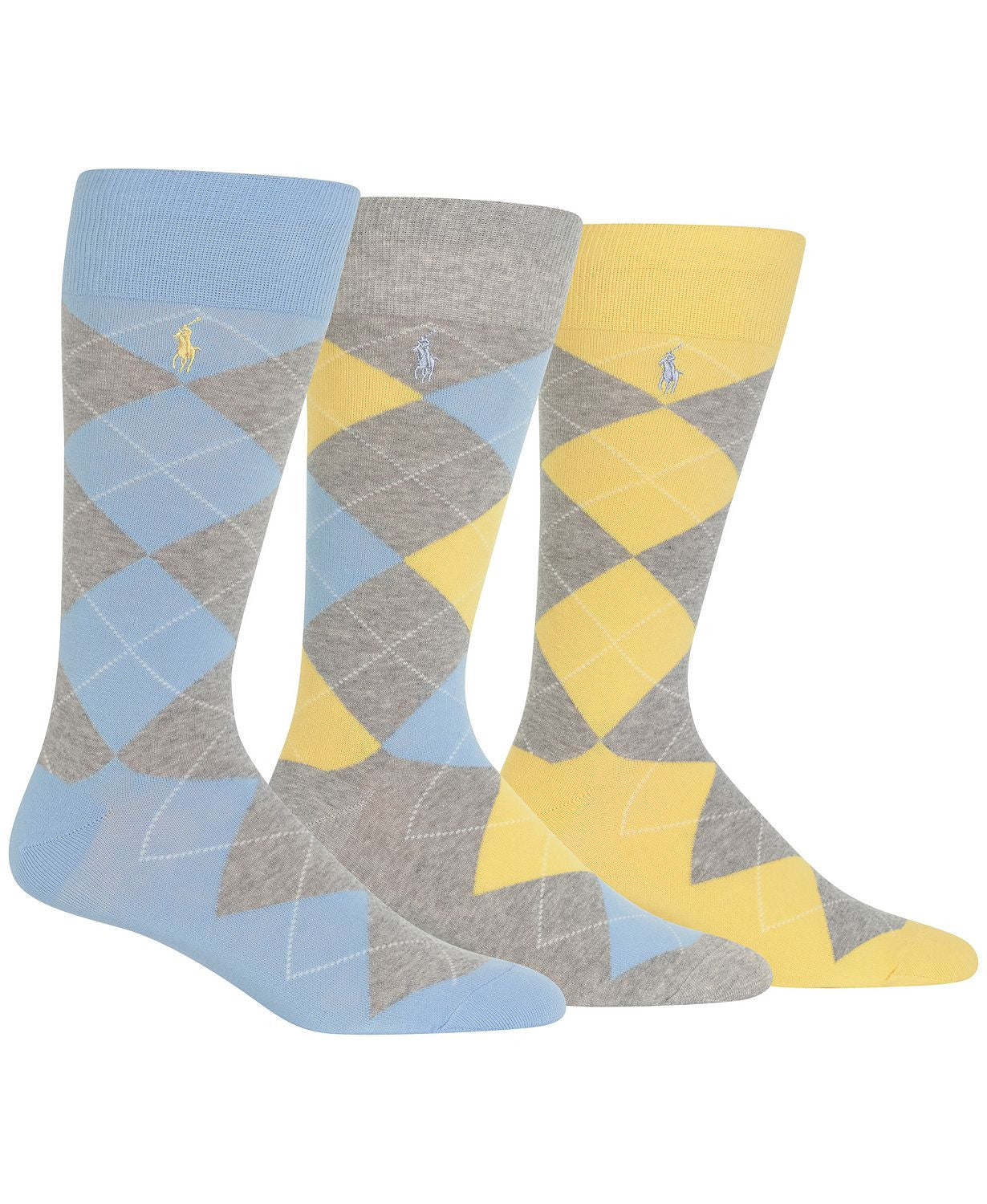 Polo Ralph Lauren Argyle Socks Pack Of 3 Light Blue / Yellow