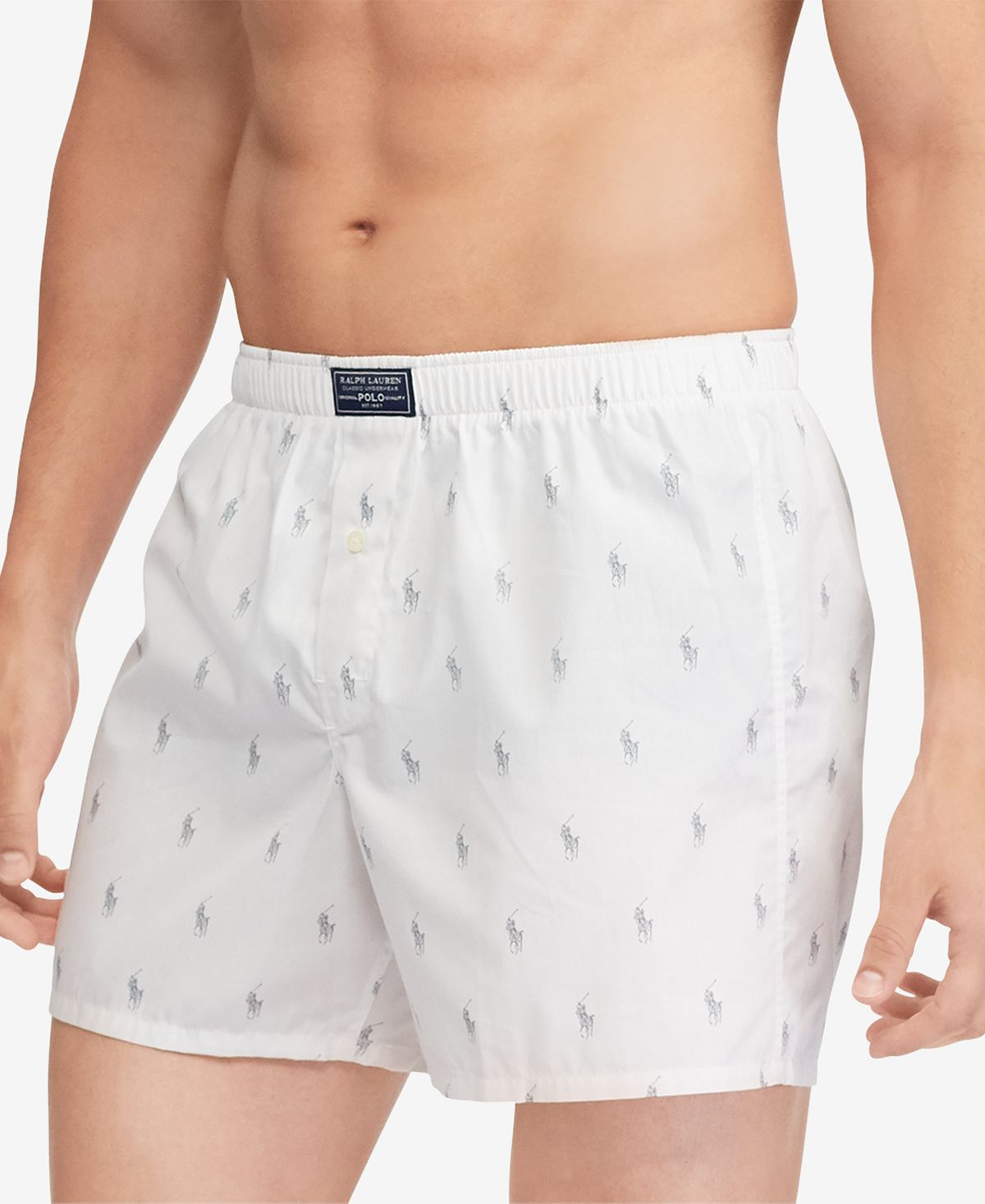 Polo Ralph Lauren Pony-print Woven Cotton Boxer Briefs White