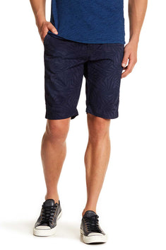 Pop Icon Dark Blue Leaf Flat Front Short