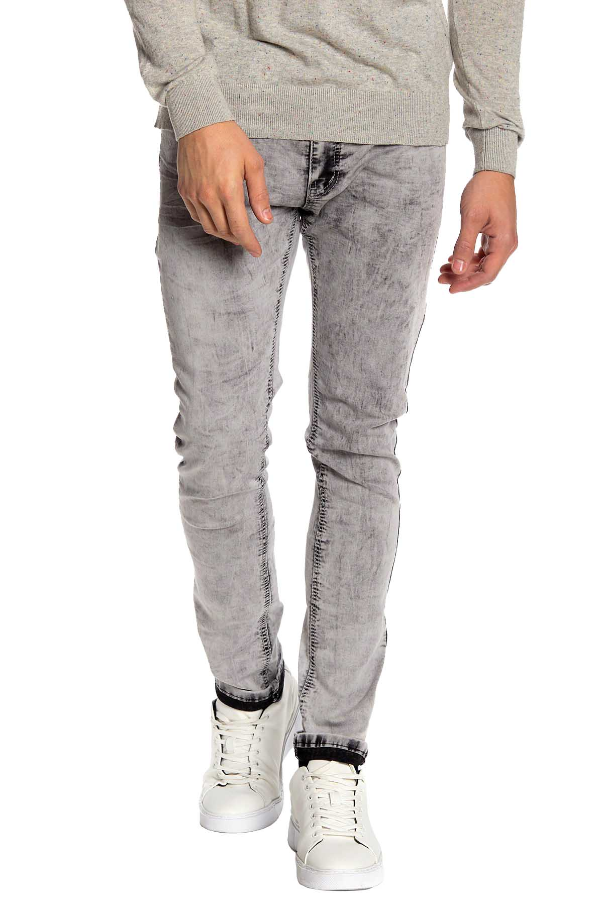 Recess Jeans Light Grey Solid Stretch Slim Jean