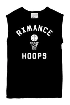 Rxmance Unisex Black Hoops Muscle T
