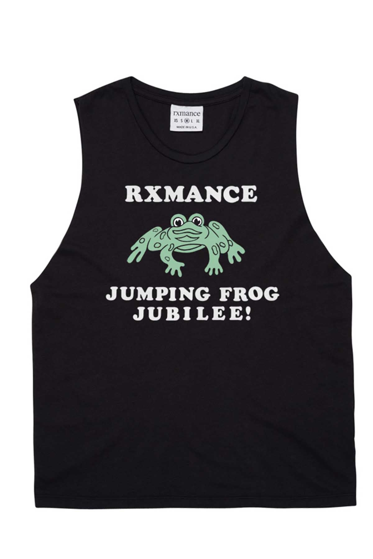 Rxmance Unisex Black Jumping Frog Muscle T
