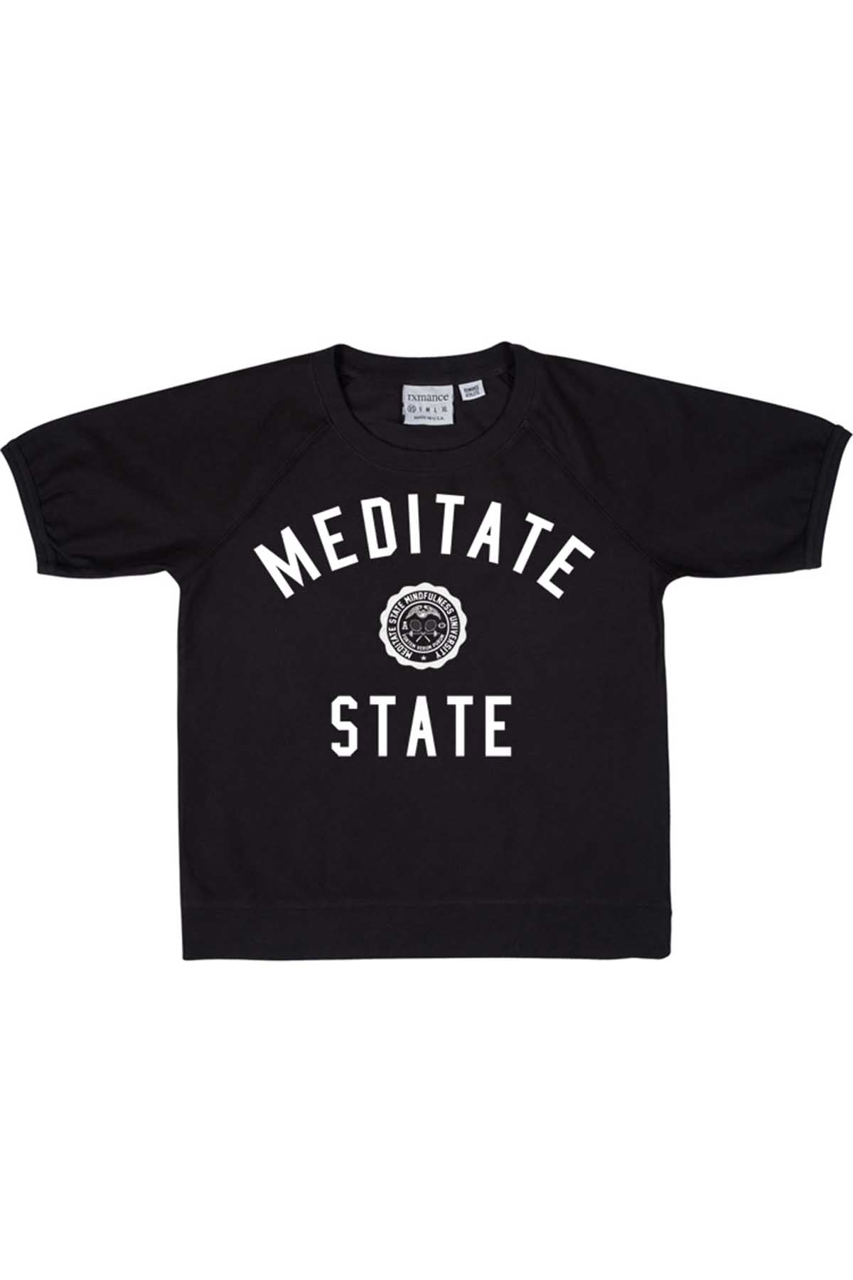 Rxmance Unisex Black Meditate State Loose-Knit Short-Sleeve Tee