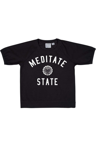 Rxmance Unisex Black Meditate State Loose-Knit Short-Sleeve Tee - CheapUndies.com