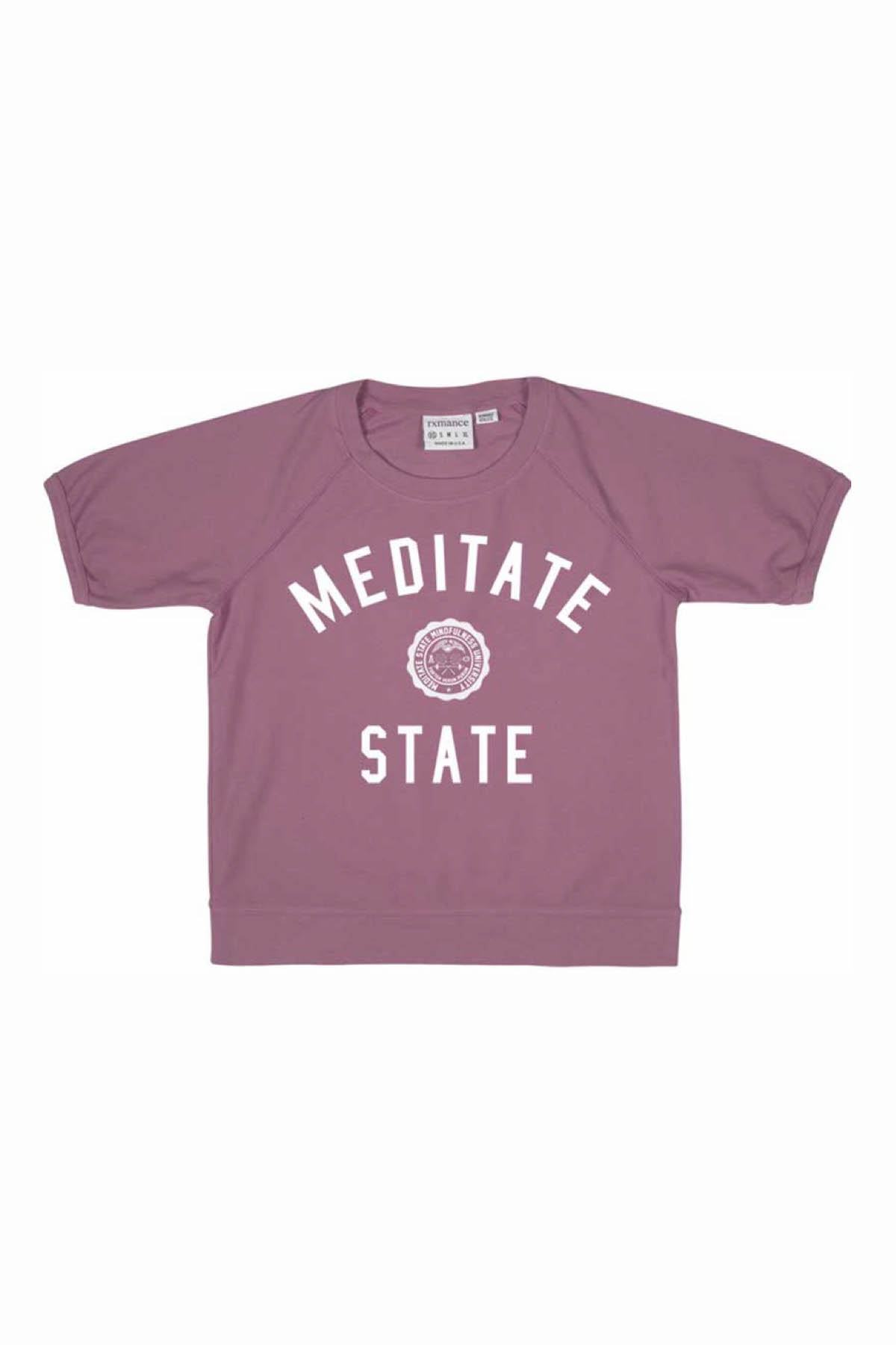 Rxmance Unisex Faded-Rose Meditate-State Loose-Knit Short-Sleeve Tee
