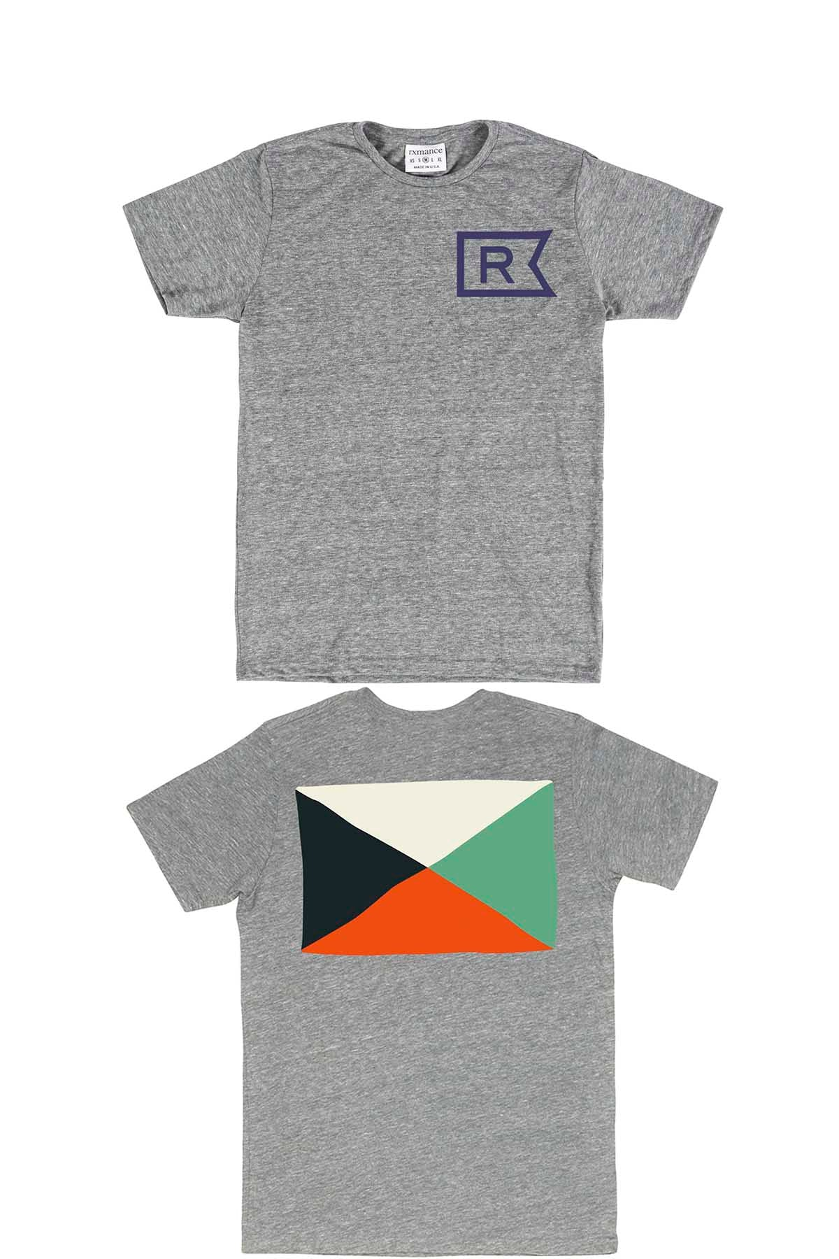 Rxmance Unisex Heather Grey Front/Back 'Flag' Tee