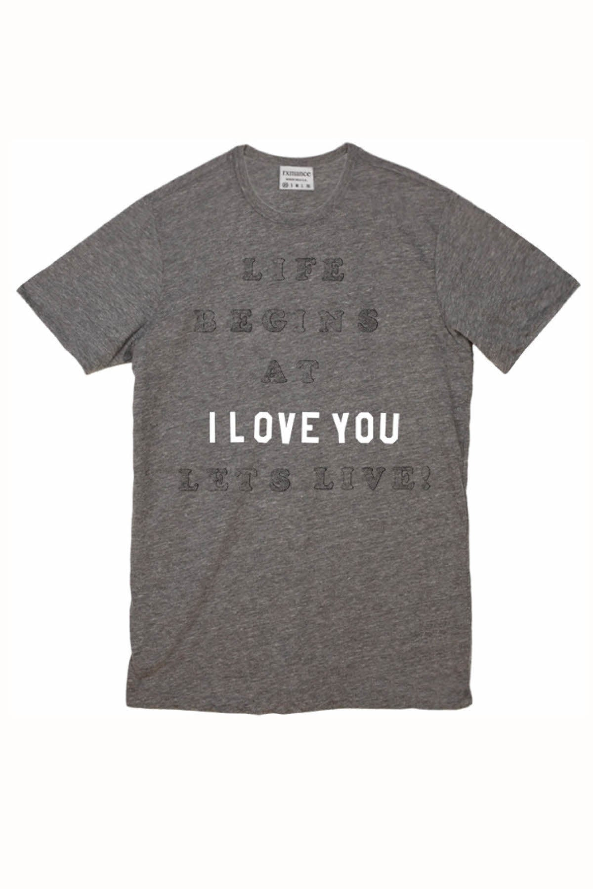 Rxmance Unisex Heather Grey 'Lets Live' Tee