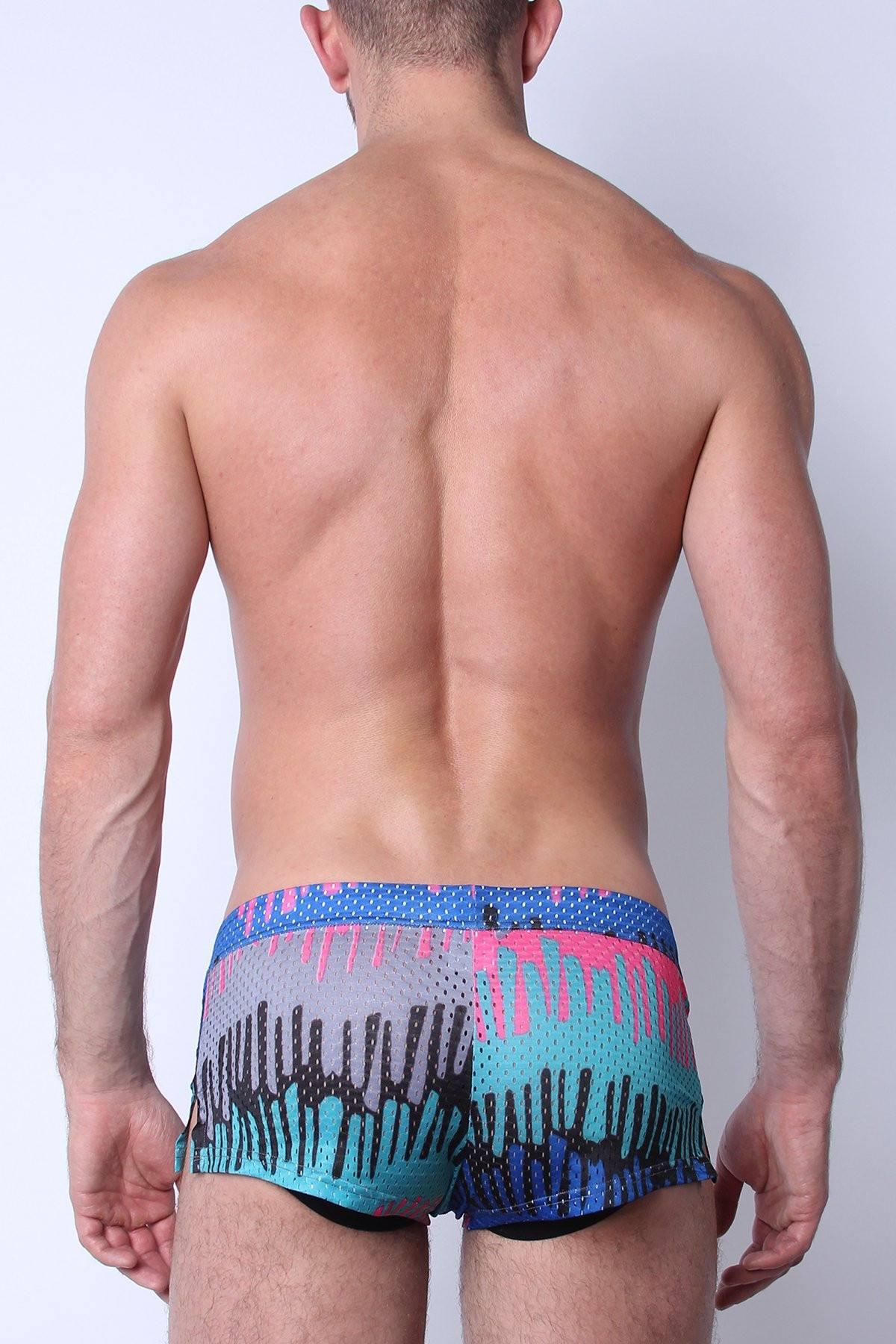 Safari Swim Short with Jockstrap Blue Drip