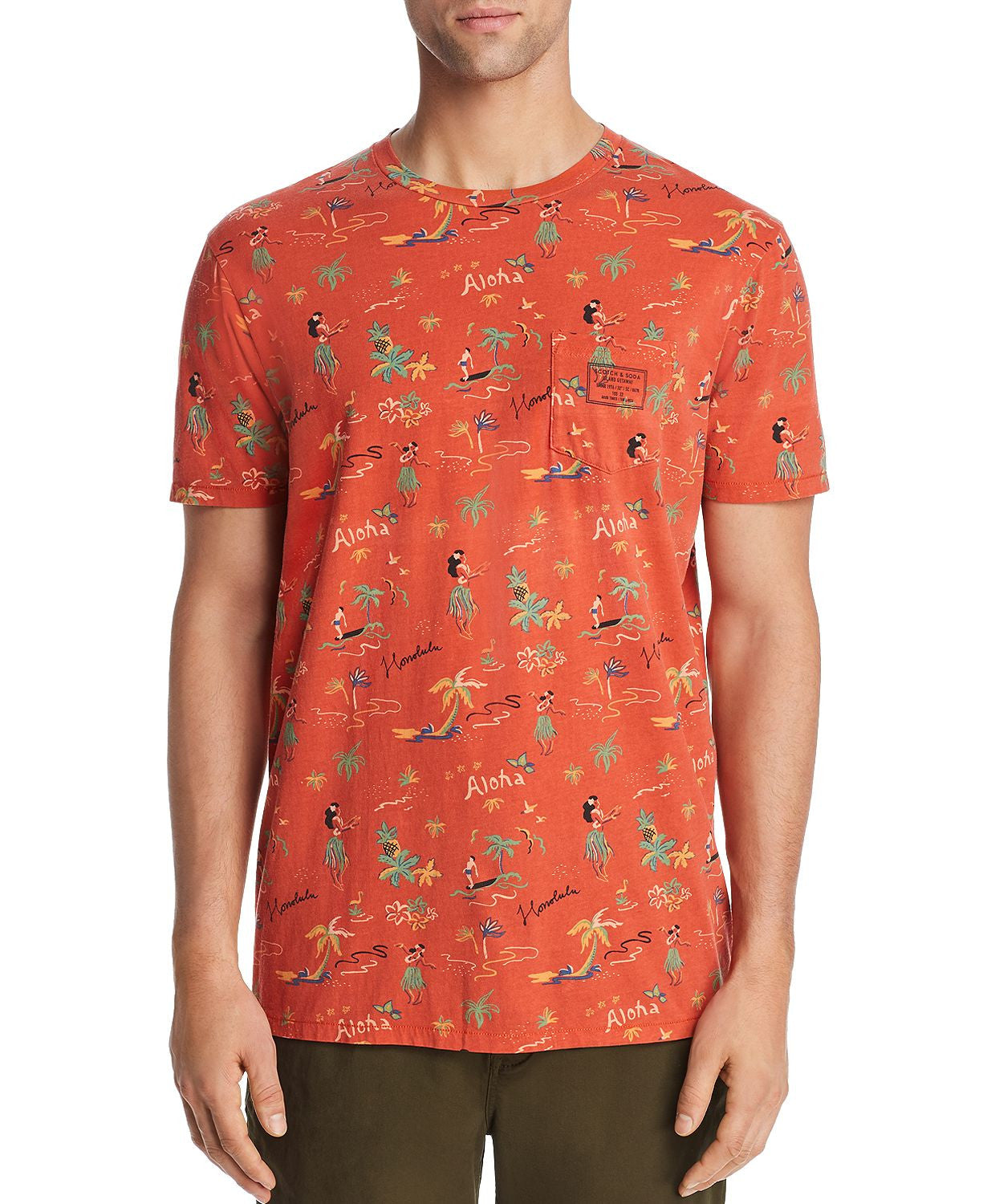 Scotch & Soda Summer Hawaii-print Tee Orange
