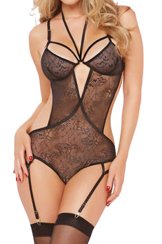 Seven 'Til Midnight Black Floral Lace Cutout Teddy