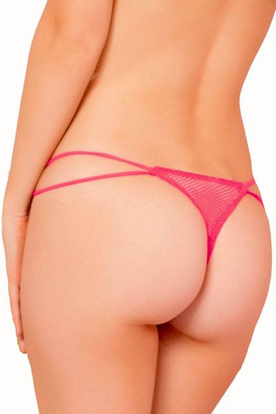 Seven 'Til Midnight Neon-Coral Fishnet Open-Crotch Thong with Lock Charm