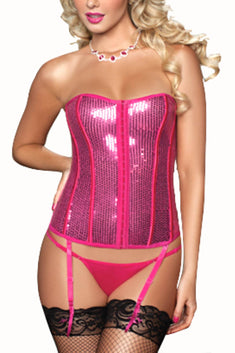 Seven 'Til Midnight Pink Sequin Bustier & Thong 2pc Set