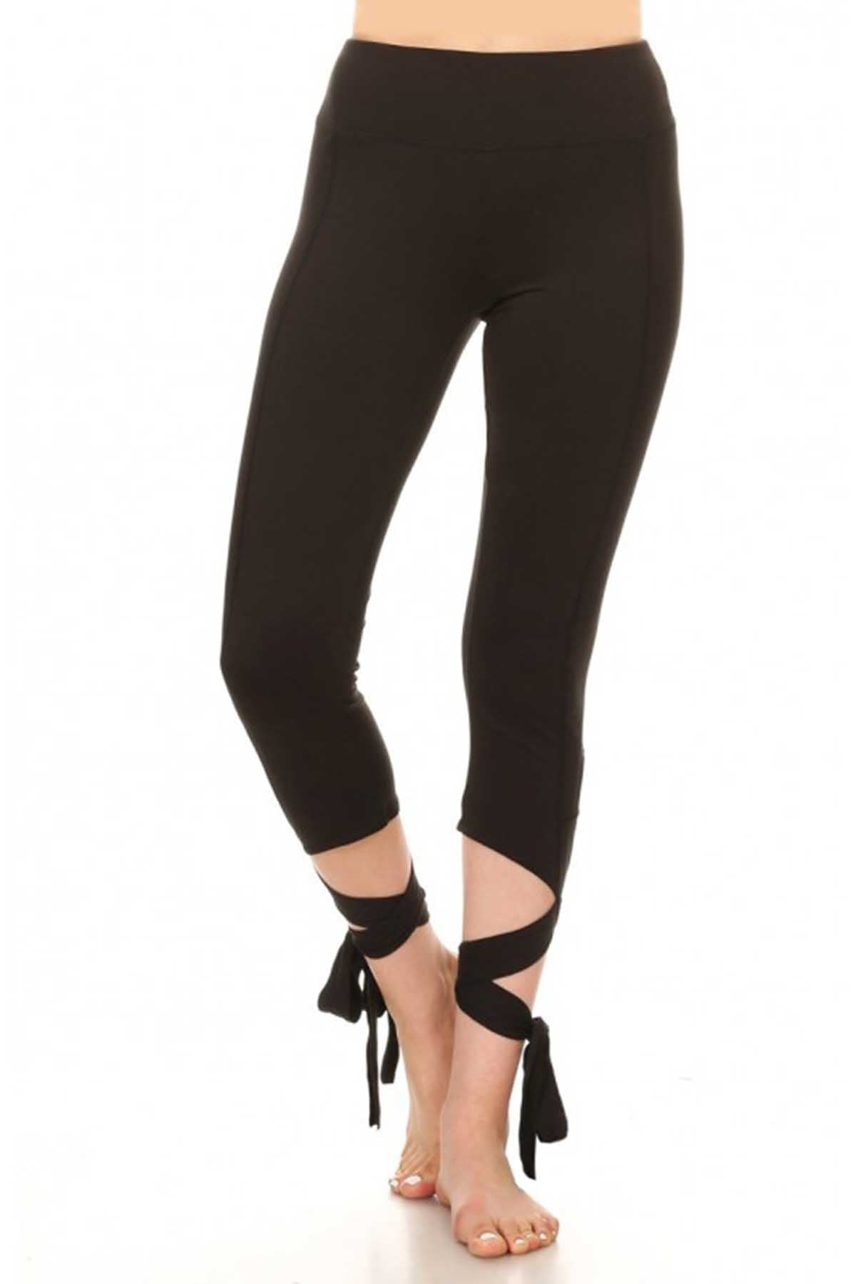 ShoSho Black Dance-Inspired Wrap-Around Capri Legging