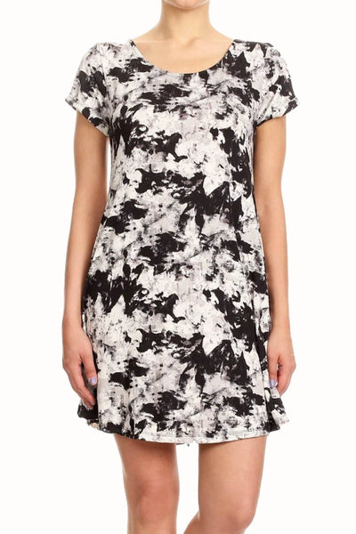 ShoSho Black/White Abstract-Print A-Lined Dress - CheapUndies.com