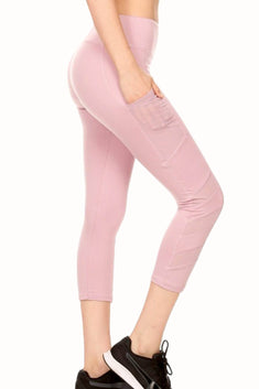 ShoSho Mauve Side-Pocket Contrast-Mesh-Panel Capri