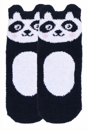Sofra Black Panda Cozy Picot Ankle Socks with Grippers