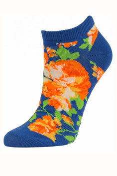 Sofra Blue Floral No Show Socks 2-Pairs