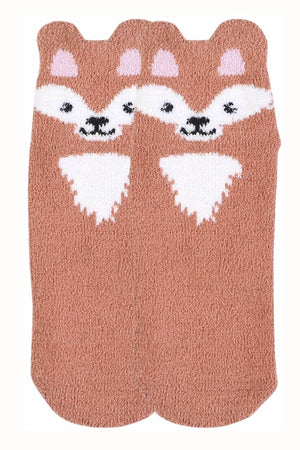 Sofra Brown Fox Cozy Picot Ankle Socks with Grippers