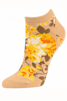 Sofra Light Brown Floral No Show Socks 2-Pairs