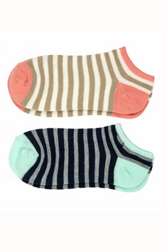 Sofra Pink/Blue Striped No Show Socks 2-Pairs