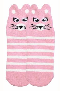 Sofra Pink Mouse Cozy Picot Ankle Socks with Grippers