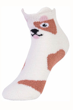 Sofra White/Brown Puppy Cozy Picot Ankle Socks with Grippers
