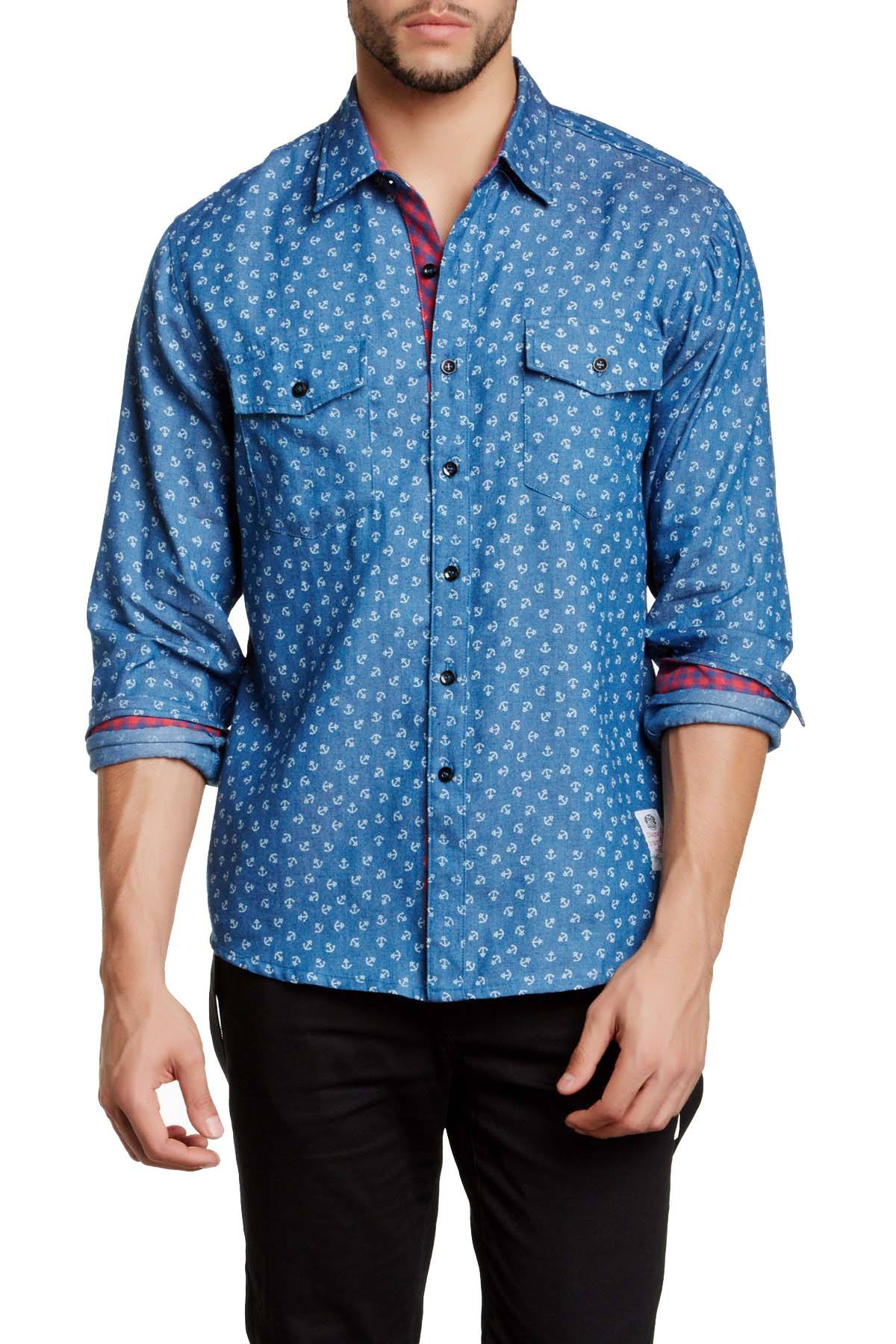 Something Strong Blue Something Nautical Button-Up