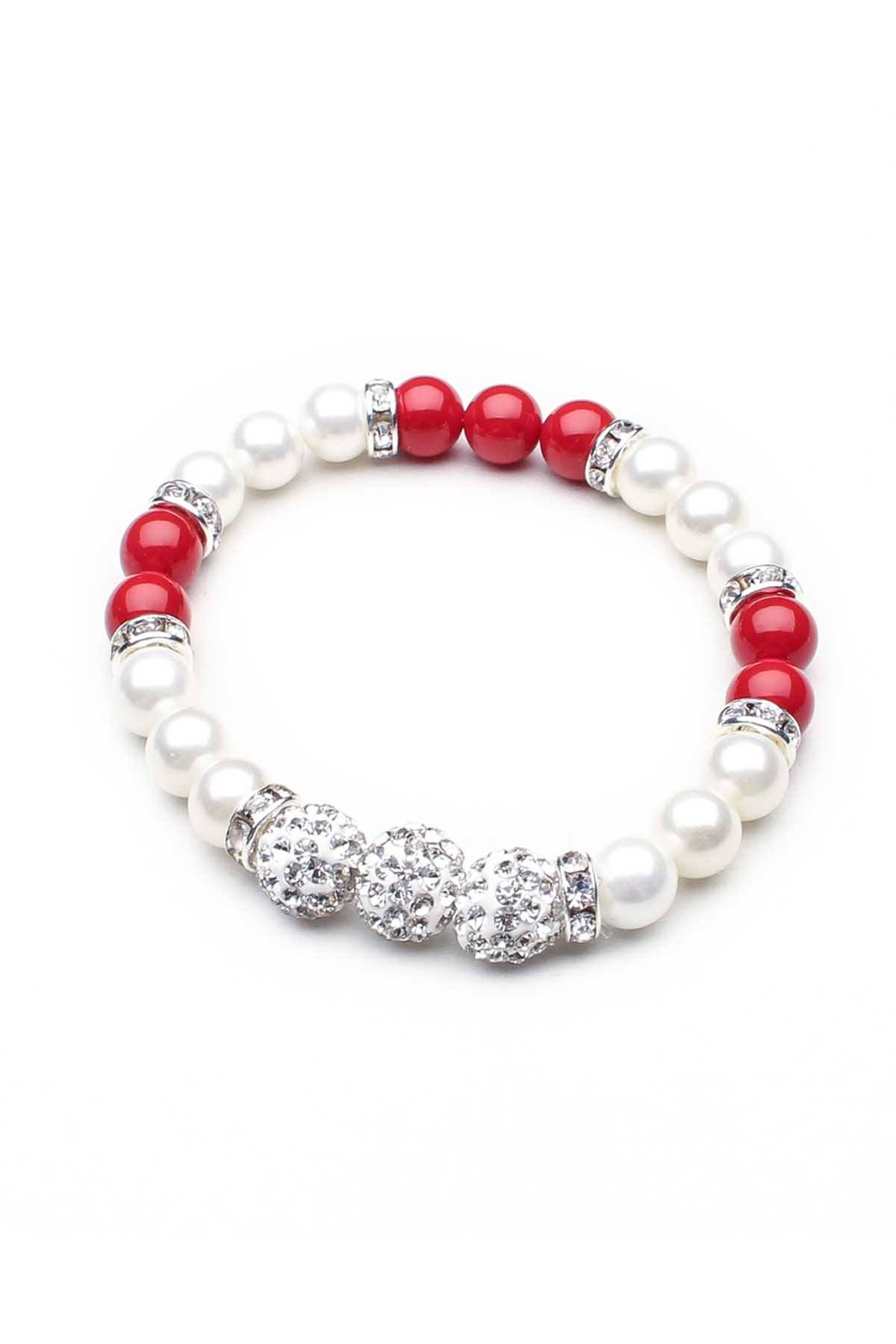 Something Strong White/Red Rhinestone/Faux-Pearl Beaded Bracelet