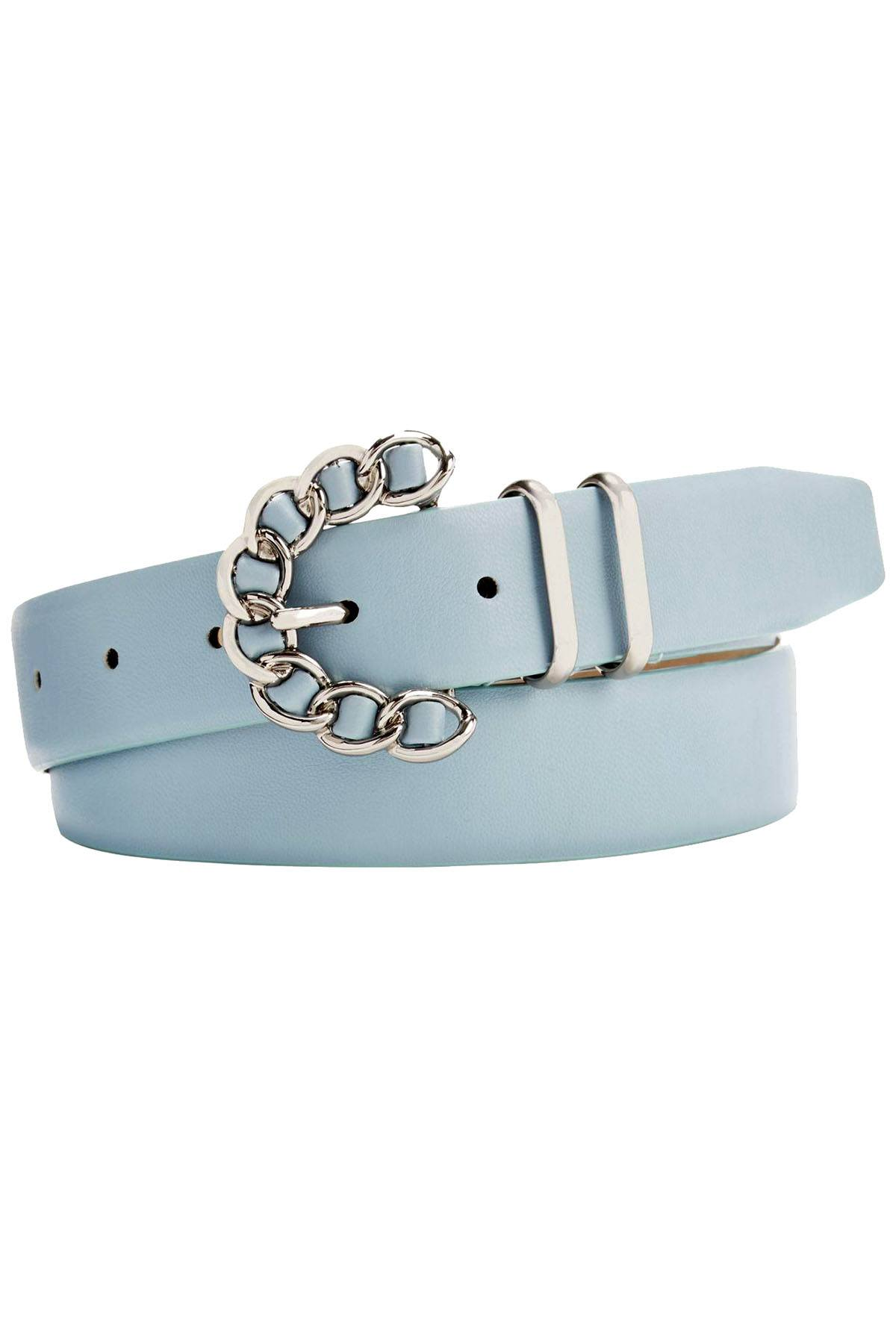 Steve Madden Light Blue Chain Buckle Belt