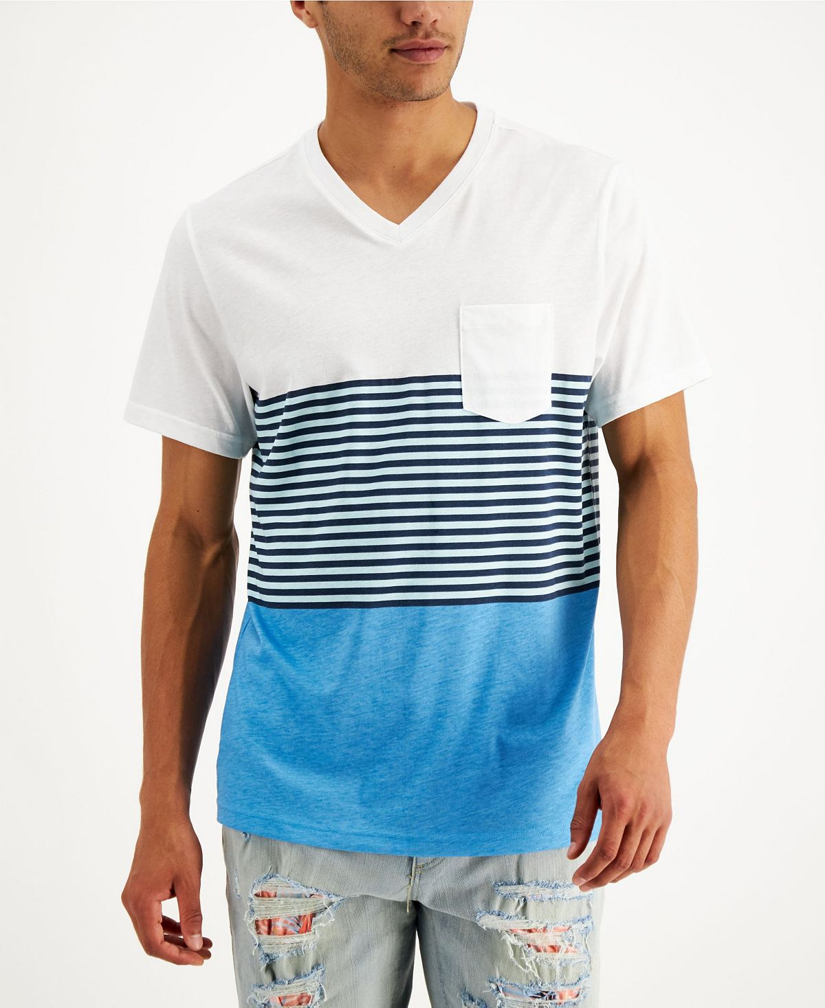 Sun + Stone Sun + Stone Lido Striped Colorblocked T-shirt Seacrest Aqua