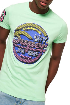 SuperDry Bleached Ultra-Mint Sticker Tab Tee