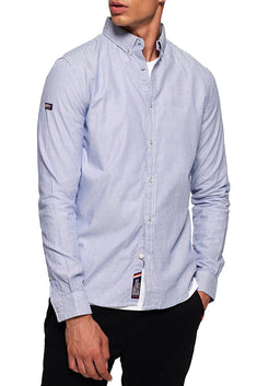 SuperDry Blue-Basket Stripe Premium Button-Down Long-Sleeve Shirt