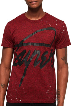 SuperDry Bright-Berry-Grit Crew Splatter T-Shirt