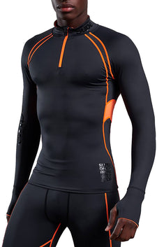 SuperDry Carbon/Orange Bionic Compression Half-Zip Top