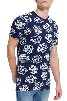 SuperDry Classic-Blue Triple Logo AOP Long-Line T-Shirt