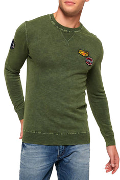 SuperDry Deep-Khaki Garment-Dye L.A. Badged Crew-Neck Sweater
