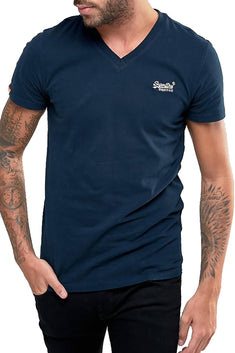 SuperDry Eclipse-Navy Orange-Label Vintage Embroidered V-Neck
