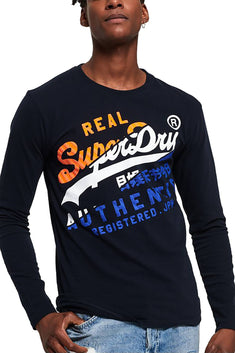 SuperDry Eclipse-Navy Vintage Authentic XL Long-Sleeve T-Shirt