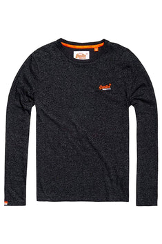 SuperDry Feeder-Carbon-Black Orange-Label Vintage Embroidered L/S T-Shirt