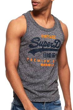 SuperDry Flint-Grey-Grit Premium Goods Duo Vest Tank