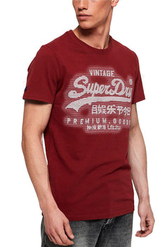 SuperDry Furnace-Red Premium Goods Textured Logo Graphic Tee