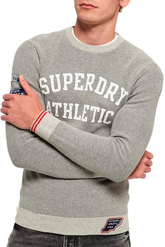 SuperDry Grey-Marl/Navy Track Squad Crew-Neck Sweater
