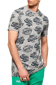 SuperDry Harbour-Grey-Grindle Triple Logo Long-Line T-Shirt