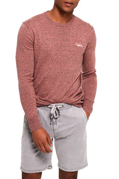 SuperDry Haze-Pink-Grit Orange Label Crew-Neck Sweater